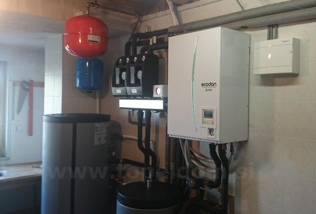 Kombinacija talno radiatorji toplotna črpalka